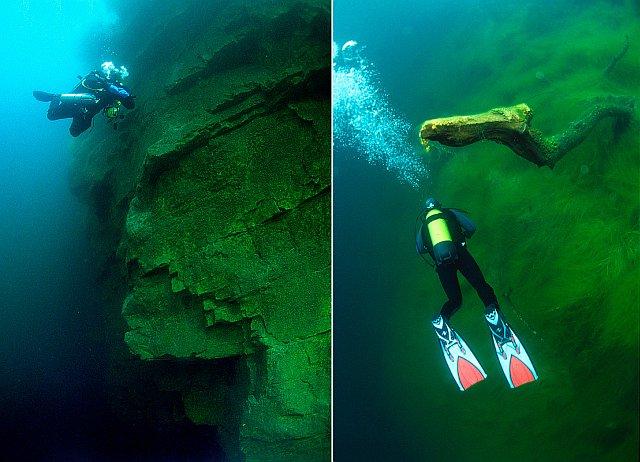 Погружение с аквалангом - на глубине более 20 метров. Голубое озеро Чирик Кель.