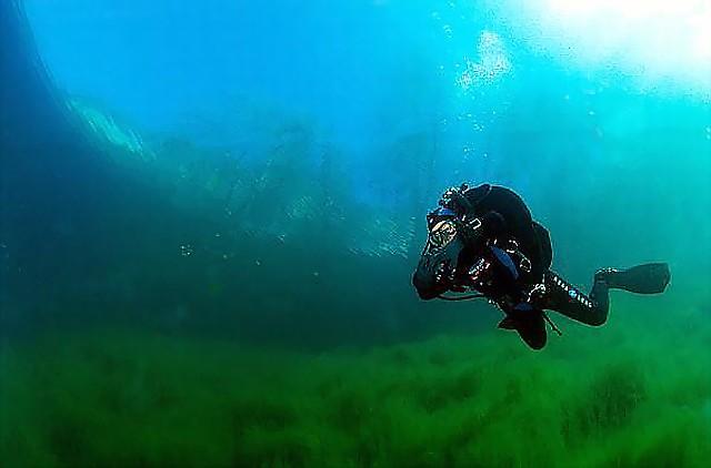Дайвинг на карстовых озерах. Голубое озеро Чирик Кель.